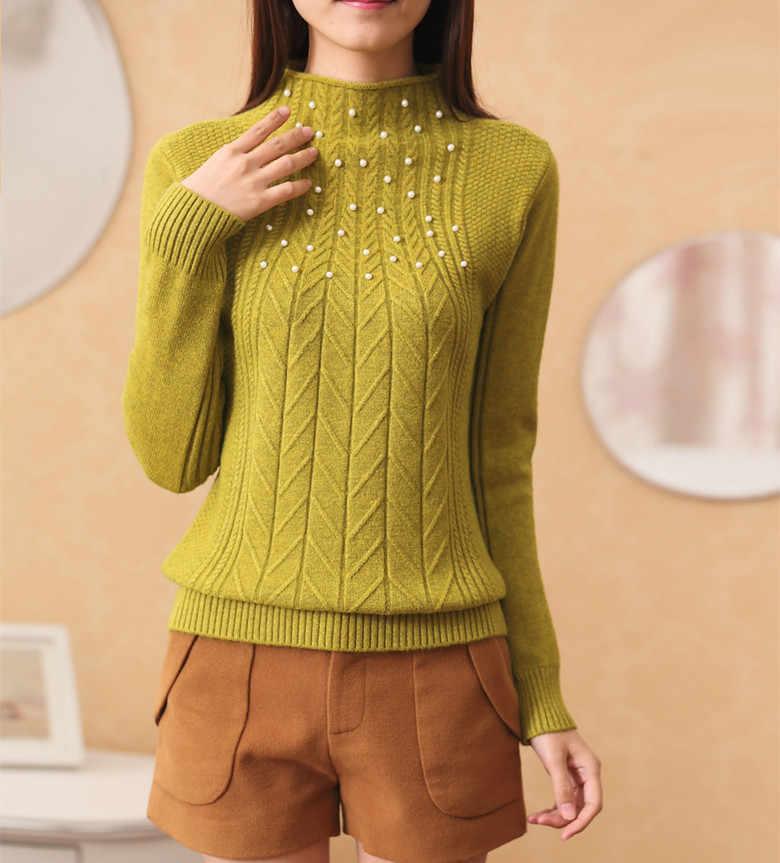 Лидер продаж, новинка 2019 г. осень-зима универсальная тонкий свитер верхняя одежда женщин водолазка свитер для женщин