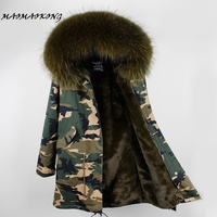 2017 Winter Coat Women Long Fashion European Stlye Warm Jacket Real Large Raccoon Fur Collar Hooded