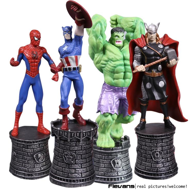 Marvel Avengers Superhero Chess Hulk Spider Captain America Thor PVC Action Figure Collectible Model Toy 4pcs/lot HRFG463 marvel captain america war scarlet witch pvc action figure collectible model toy