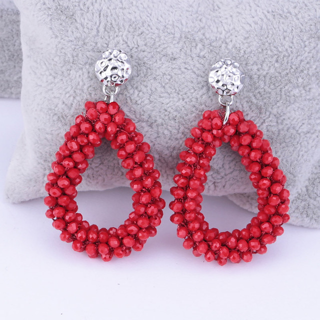 Water Drop Oorbellen Crystal Beads Big Dangle Earrings
