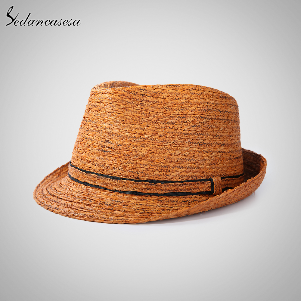 Image 5 - Classic men raffia straw hat summer UV protection sun hats for man fedora cap fashion unisex beach cap trilby holiday 57 59cm-in Men's Sun Hats from Apparel Accessories