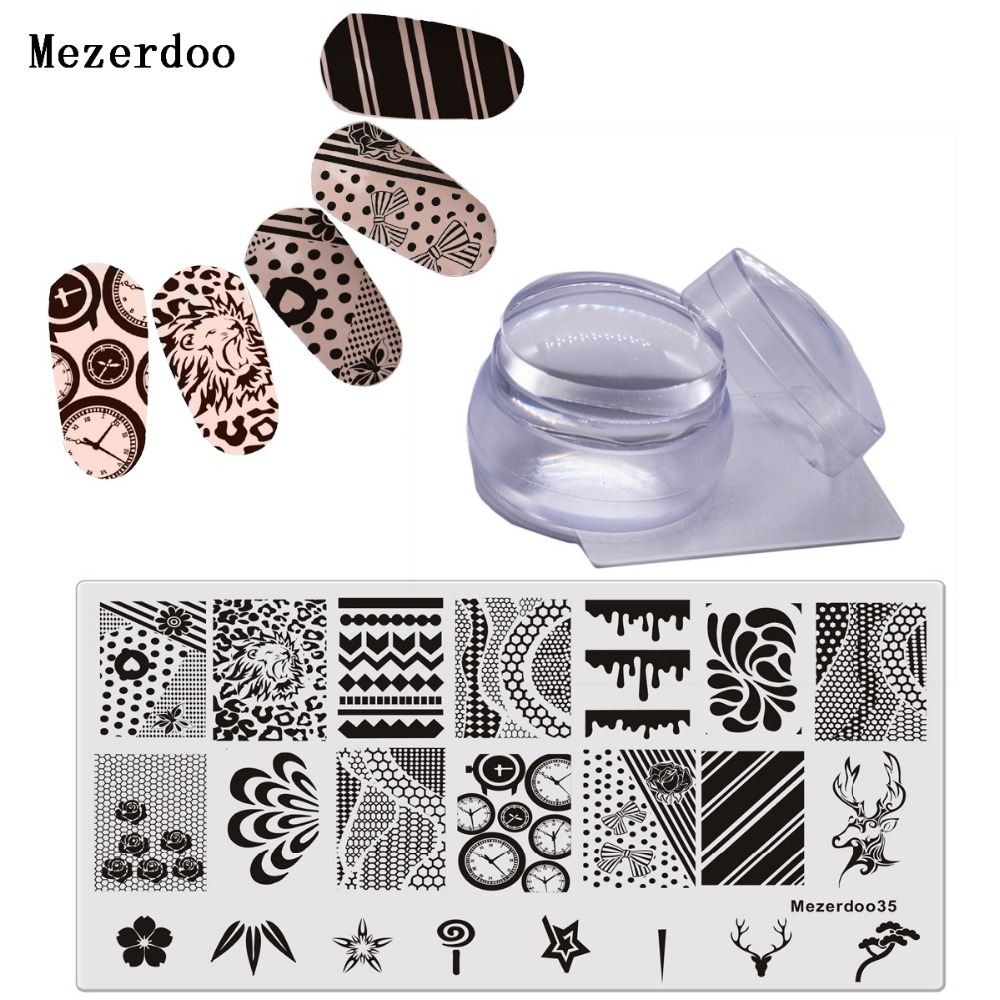 Lion Clock Plate Clear Gelatina 3.5cm Nail Silicone Stamping - Manicure