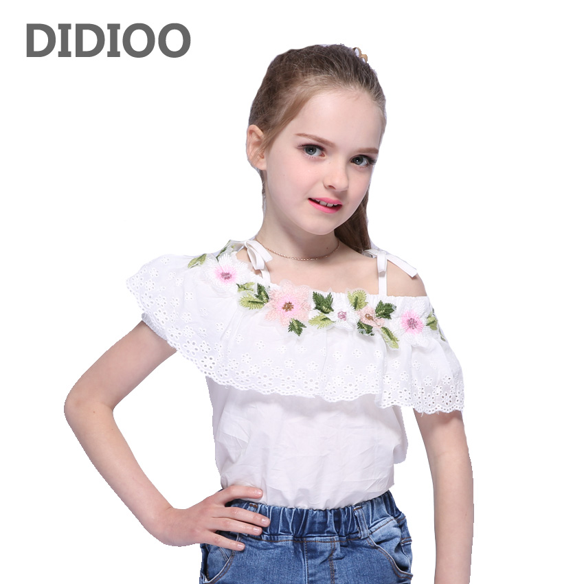 Kids Blouses For Girls Suspenders Off Shoulder Embroidered T-Shirts For Girls Floral Tees Summer Children Tops 2 3 5 7 9 11 12y floral embroidered off the shoulder tunic blouse
