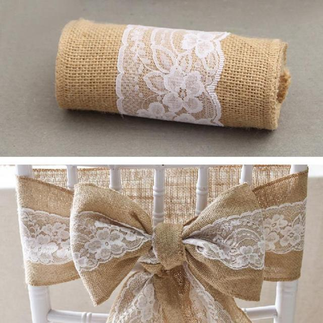 Lace Burlap Chair Sashes Bow Cover Wedding Table Runner New Year Christmas  Party Banquet Chairs Decorations
