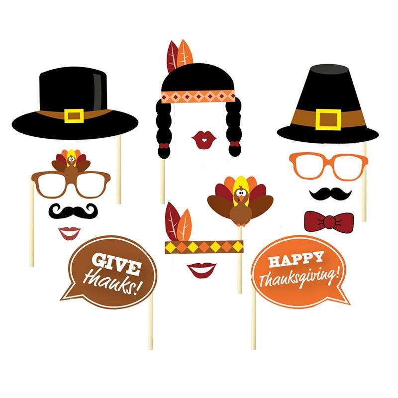 29Pcs DIY Thanksgiving Day Photo Booth Props Hat On A Stick Kit Wedding