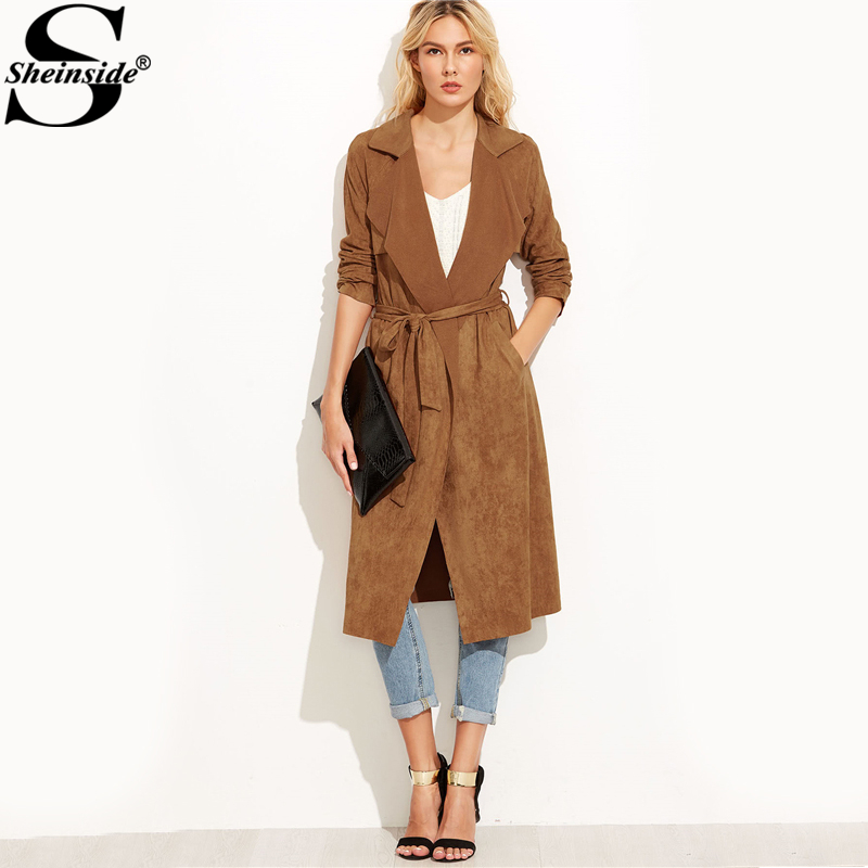 Sheinside Brown Suede Self Tie Duster Trench Coat Long Sleeve Wrap Long Outer With Belt Women Casual Fall Winter Workwear Coat