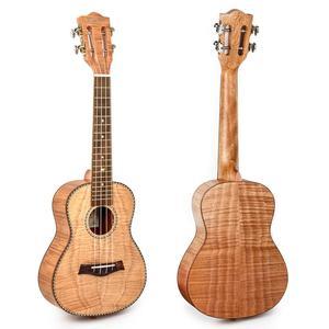 Image 5 - Kmise Concert Ukulele 23 inch Ukelele Tiger Flame Okoume Starter Kit Classical Guitar Head with Gig Bag Tuner Strap String