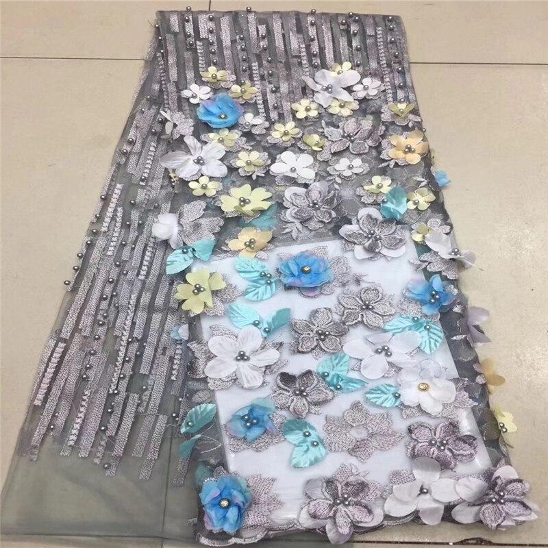 VILLIEA Hoge Kwaliteit Nigeriaanse 3D Bloemen Bruiloft Kant Stof Grijs Laatste Afrikaanse Veters Franse Netto Kant Stof Met Kralen-in Kant van Huis & Tuin op  Groep 1