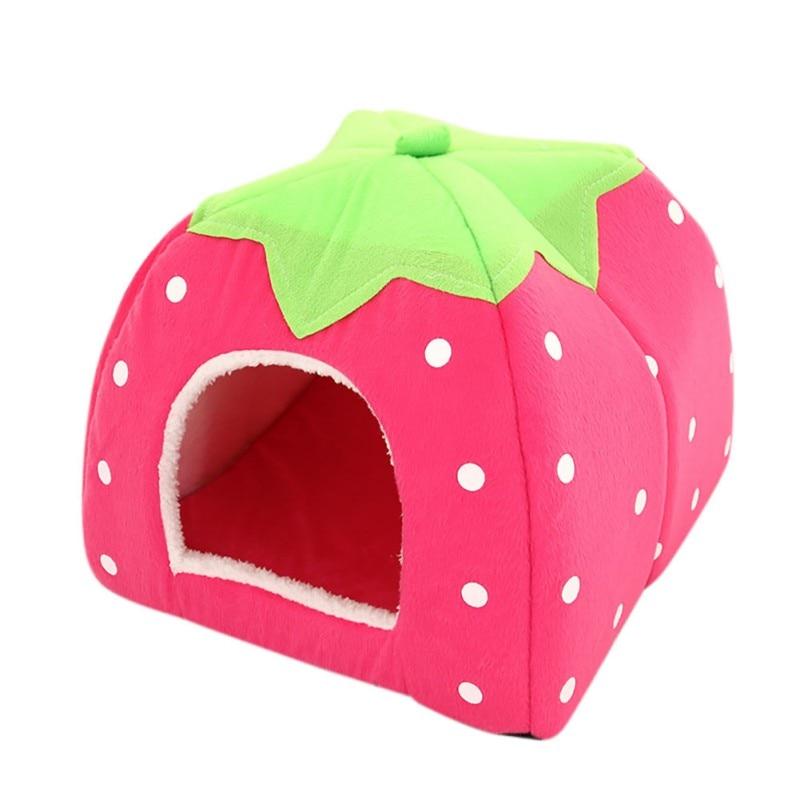 Hot Foldable Cat Dog Kennel Warm Cushion Strawberry Shape Sponge House Dog Nest With Summer Mat For Pet