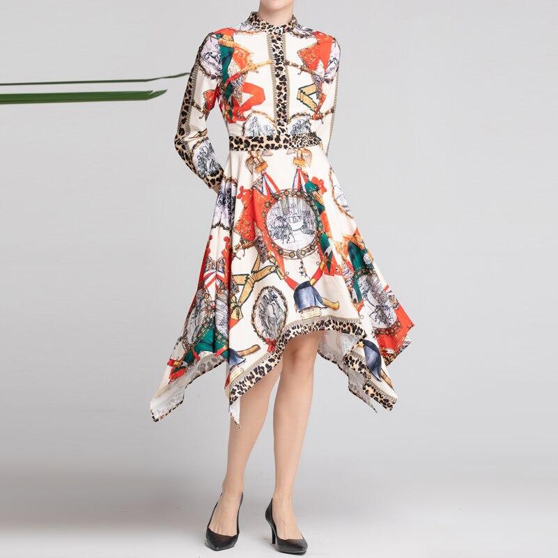 Leopardo Multi Vestito Donne Modello Partito Asimmetrico Sottile Delle Stampa Qualità Primavera Elegante Della Da Modo Di estate Vintage Del Lunghe Manicotto Alta 1qpP87