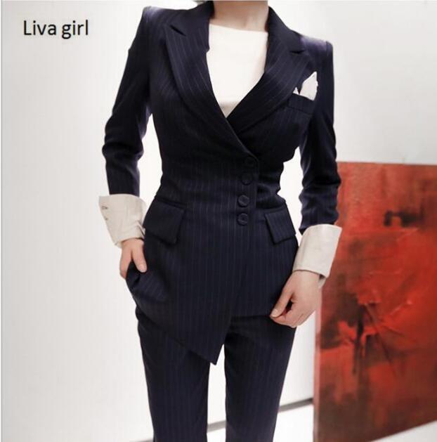 Two Piece Set Office Suit Women Autumn Double Breasted Dark Blue Long Jacket+long Pant Suits Businness Work Wear Suits Pant Suits
