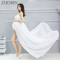 Maternity Strapless Dress Pregnant Women Photo Shoot Split Dress For Maternity Photography Prop Open Front Mama Gown YL525