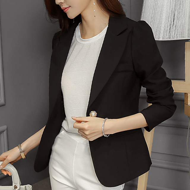 PONEFLY 2018 Ladies Blazers Fashion Single Button Blazer Women Suit Jacket Black /bule Blaser Female Plus Size Blazer Femme