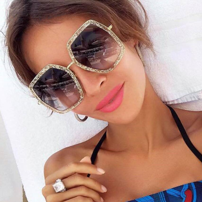 a4917b4245 Oversize Square Frame Rhinestone Sunglasses 2018 trending womens fashion  eyewear Italy brand designer sun glasses female shades