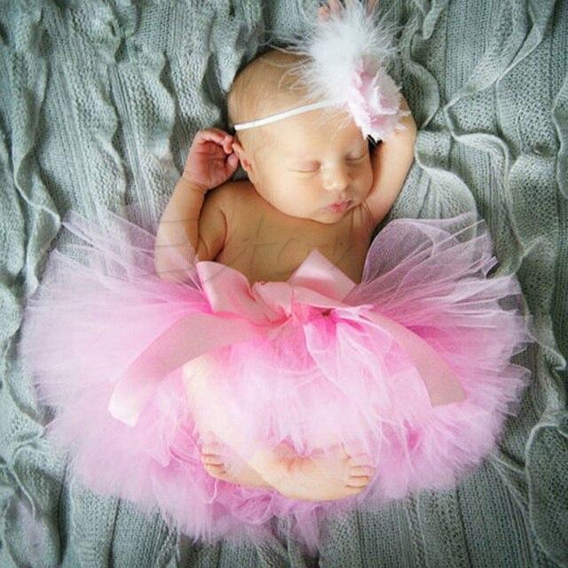 Niño recién nacido bebé niña linda falda tutú y Diadema foto Prop traje