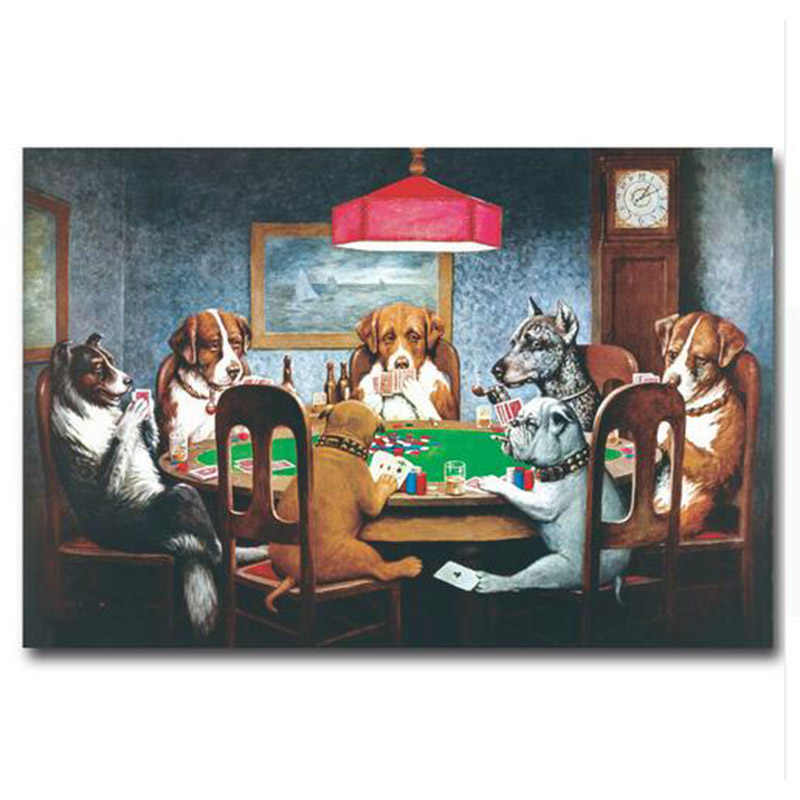 wall art Dogs Playing Poker Cards Art canvas painting wall art canvas Funny Pictures Home Wall Decor posters and prints