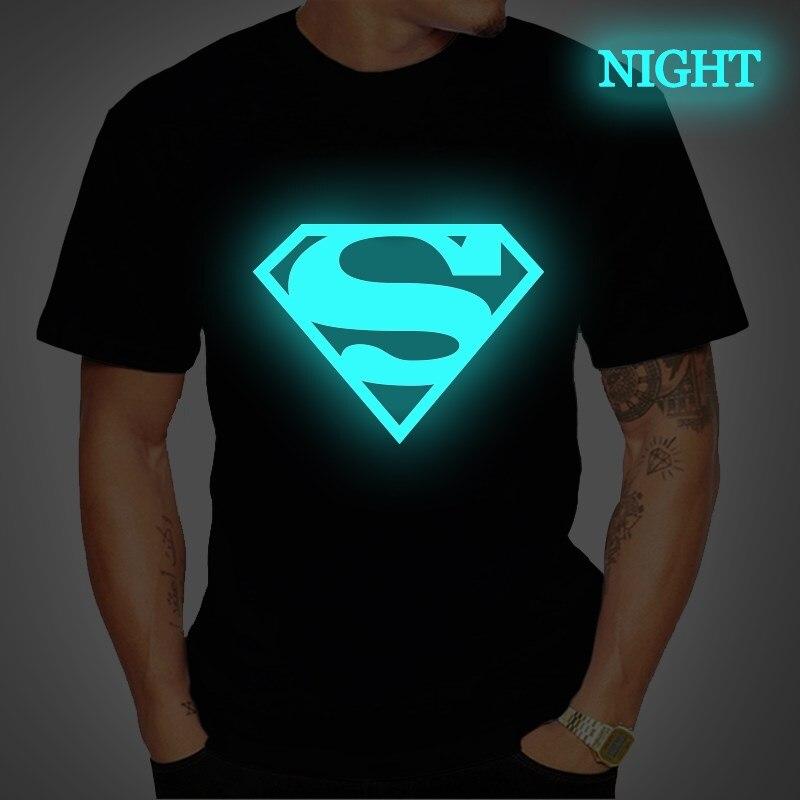 Superman Tshirt Luminous Mens T Shirt Summer Fashion Short Sleeve T Shirts Casual Tees Streetwear T Shirt Plus Size 4XL Unisex