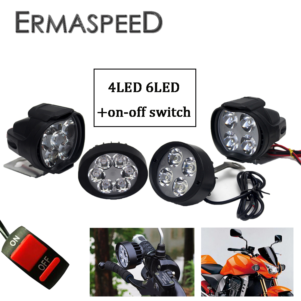 Pair Motorcycle LED Headlight 12V 3000K Fog Lamp With ON-Off Switch For KTM Cafe Racer Kawasaki Versys 650 Motocross Spot Lights