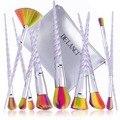 De'lanci pincéis de maquiagem 10 pcs maquiagem jogo de escova com cabelo sintético colorido forma helicoidal lidar com sombra em pó make up brush