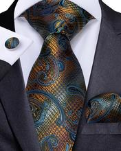Men Tie Gold Blue Paisley Wedding Silk for Designer Fashion Business Party Set Handkerchief and Cufflinks MJ-7183