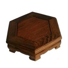 2016 neue Mahagoni Hexagonal Basis Holz Handwerk Wohnaccessoires Aquarium Vase Sitz Durchbrochene Loudiao
