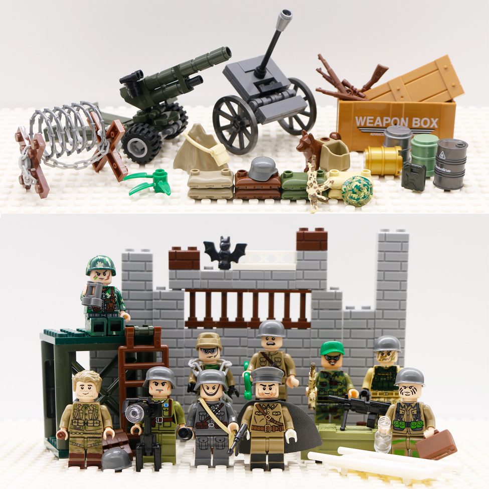 EJERCITO CONSTRUCCION LEGO  SOLDADO CON CAÑÓN MILITAR