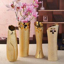 European Fashion Modern ceramic vases desk accessories, crafts, flower pot, porcelain golden vase  Home Decor Furnishing