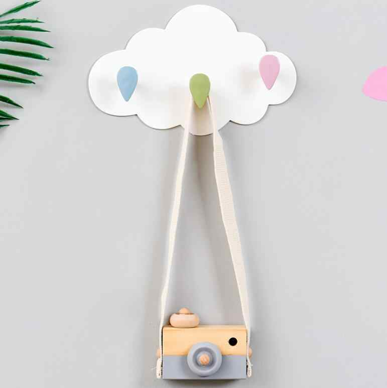 3 Hooks Cloud shape PP wall decorative hooks Self-adhesive Sticky hook for hanging clothes coat hanger key holder home organizer