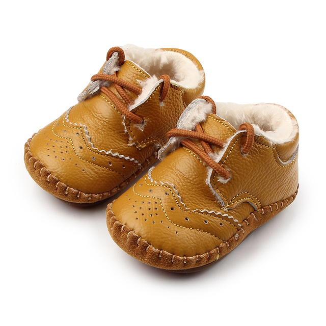 New High Quality Solid Warm Genuine Leather TPR Hard Bottom Infant Toddler Baby Girl Winter Shoes 0-15 Months
