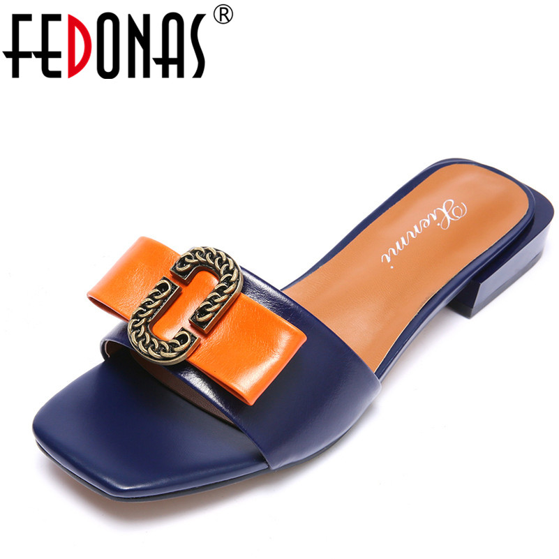 FEDONAS Brand Women Summer Gladiator Low Heeled Sandals Fashion Comfort Slippers Genuine Leather Elegant Shoes Woman Sandals ...