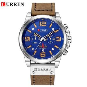 Image 3 - CURREN New Mens Watches Top Brand Men Military Sport Wristwatch Male Leather Chronograph Quartz Clock Relogio Masculino
