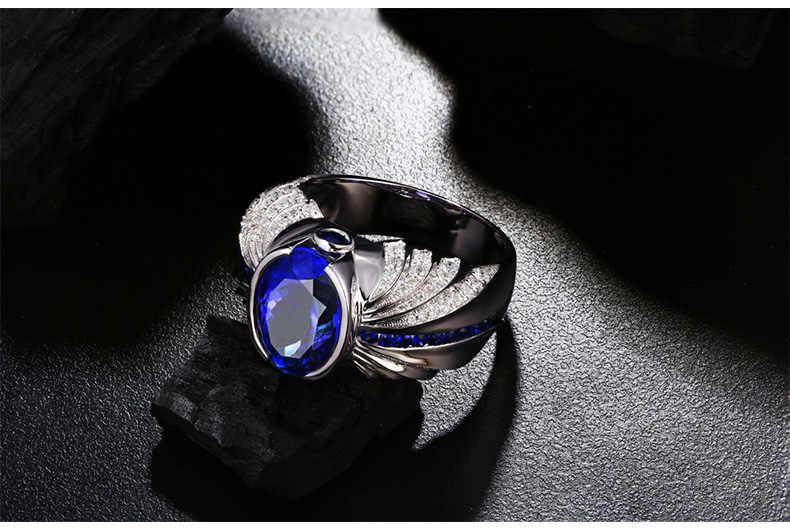 Vecalon VINTAGE Design ผู้ชายแฟชั่นเครื่องประดับแหวน 5CT หิน 5A Zircon CZ 925 เงินสเตอร์ลิงแหวนนิ้วมือ