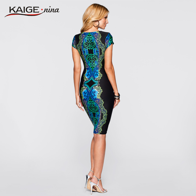 Kaige.Nina Autumn Sexy O-Neck Lace Dress Women Vestidos Casual Knee-length Dress Short Sleeve Print Plus Size Slim Dress 2409