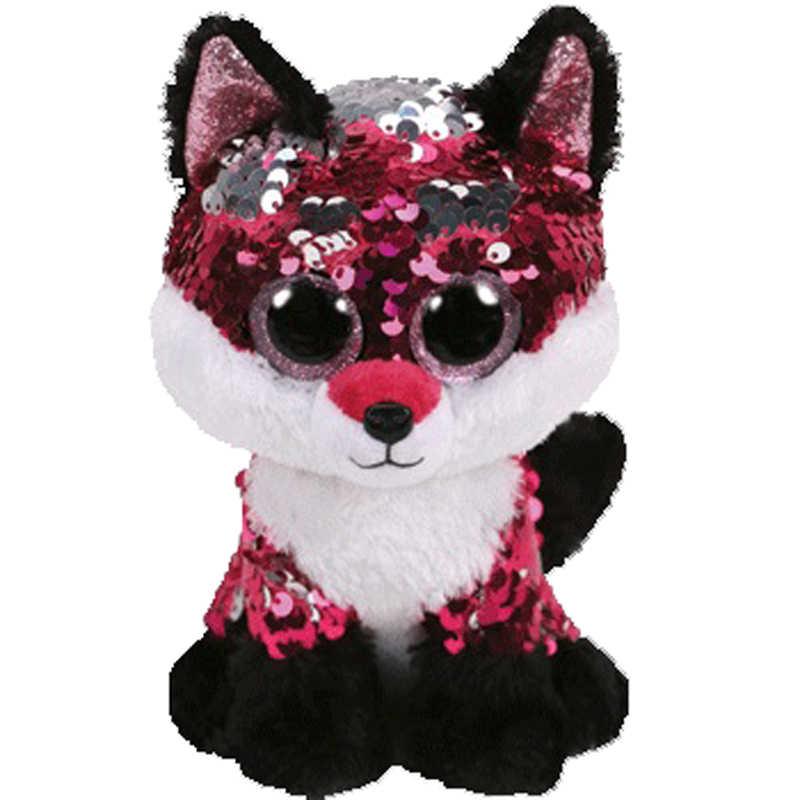 """Ty lantejoulas flippables 6 """"15 cm jewel a raposa plush regular de olhos grandes brinquedo de boneca de coleção de animais de pelúcia com etiqueta de coração"""