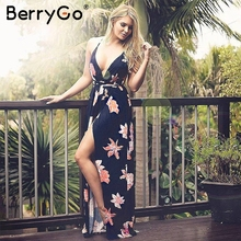 BerryGo Boho deep v neck backless long women dress Chiffon split cross lace up summer dress