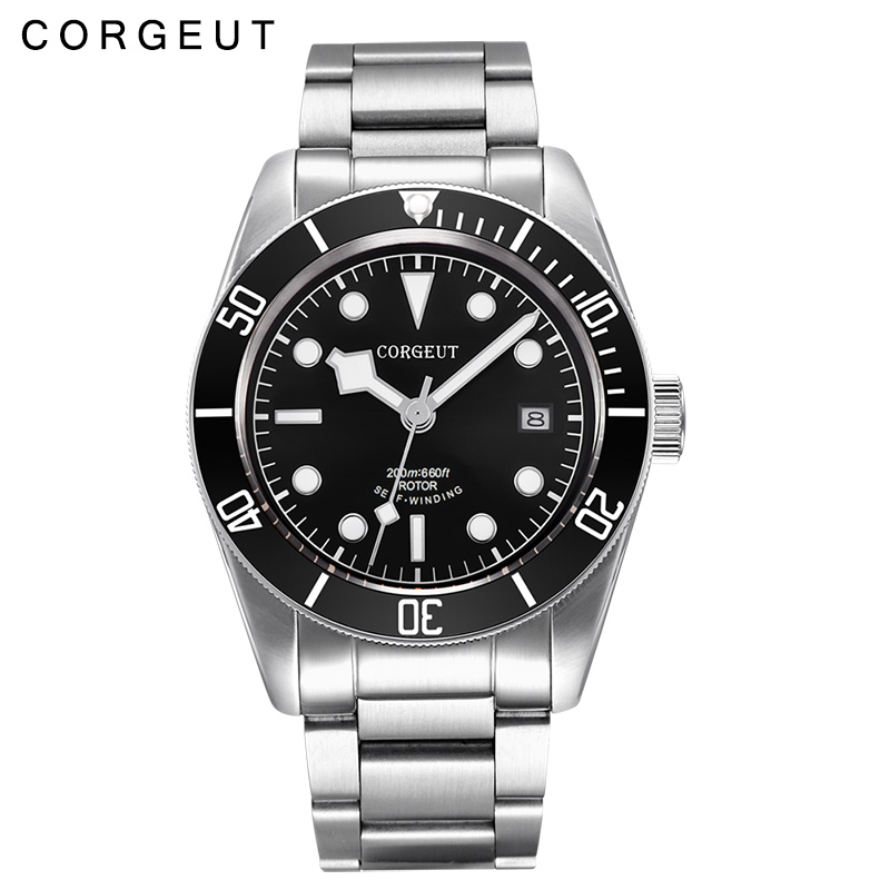 Corgeut 41MM Sapphire glass Black dial stainless steel strap Japan Miyota 8215 Automatic mens Watch polisehd 41mm corgeut black dial sapphire glass miyota automatic mens watch c102