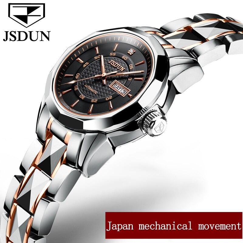 Genuine JSDUN Full Automatic Mechanical female WatchesLuxury brand Japanese movement Wristwatch fine steel women watch calendar