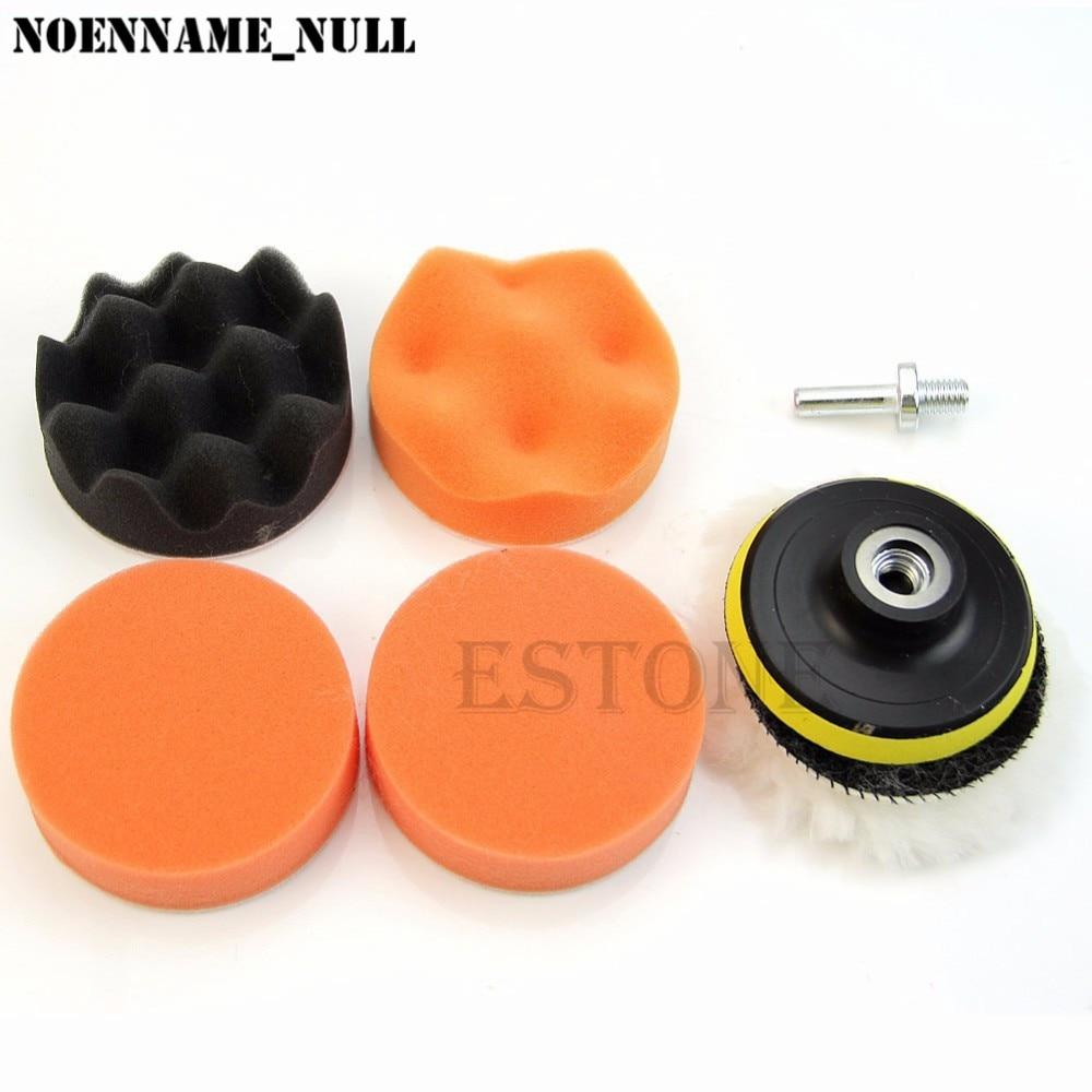 NoEnName_Null tampon de polissage de 3 pouces   Kit de roues de polissage de voiture + tampon de perçage M10, adaptateur de roue, avec adaptateur de perceuse 7 pièces