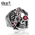 Beier new store 316L Stainless Steel high quality One Eyed Vampire Crown Skull CZ Ring BR8-051