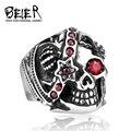 Beier nova loja crown crânio aço inoxidável 316l de alta qualidade one eyed vampiro anel cz br8-051