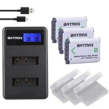 3x bateria NP-BX1 NPBX1 np bx1 Carregador Baterias + LCD para Sony DSC AS100V RX1 RX100 M3 M2 HX50 HX300 HX400 HX60 GWP88 AS15 WX350