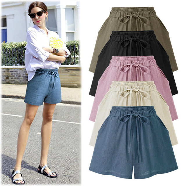 DSQUAENHD 2018 Summer Women's Casual Elastic Waist Cotton And Linen Pockets Shorts Loose Solid Shorts Femme Plus Size 5XL 6XL