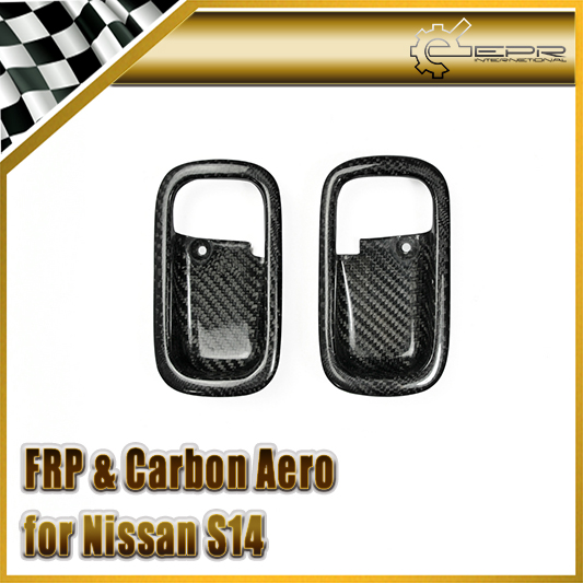 Car-styling For Nissan S14 Real Carbon Fiber Inner Door Handle Cup RHD In Stock