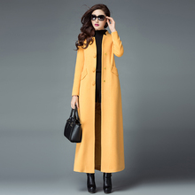 2016 Autumn and Winter New Fashion Stand Collar Single Breasted Female Overcoat S-4XL Plus Size Ultra Long Woolen Jacket Coats