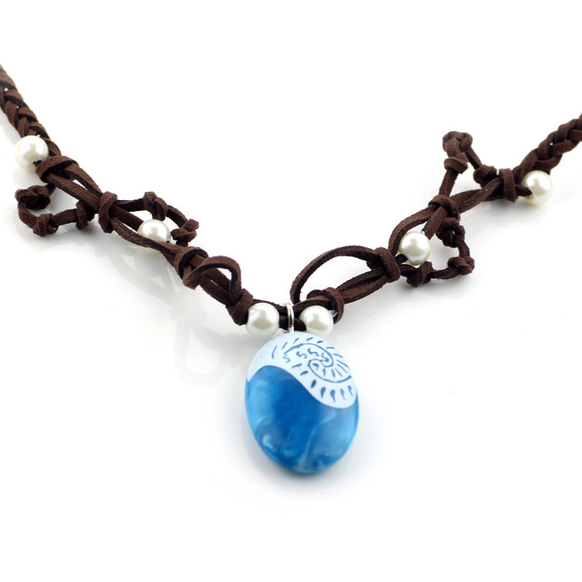 Moana Ocean romance Rope chain necklaces blue Stone necklaces & pendants necklace for women jewelry 2