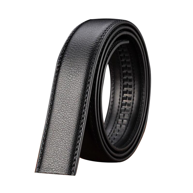 Luxury Men's Leather Automatic Ribbon Waist Strap Belt Without Buckle Black