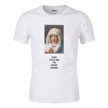 2019 Summer Men's T Shirts Virgin Mary Printed Casual Short Sleeve T-Shirt Cotton Hip Hop Tops Tee Fashion Streetwear Tshirt New все цены