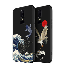2019 Great Emboss Phone Case For Oneplus 6 cover Kanagawa Waves Carp Cranes 3D Giant relief 6T