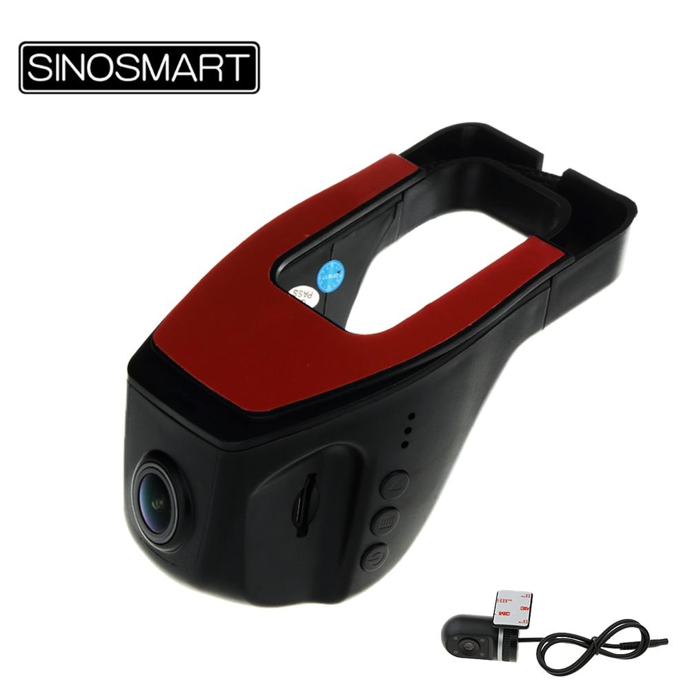 bilder für SINOSMART Auf Lager Universal Wifi DVR für Volkswagen/Honda/Mazda/Mitsubishi/Opel/Hyundai/Kia App Control Dual Objektive Optional