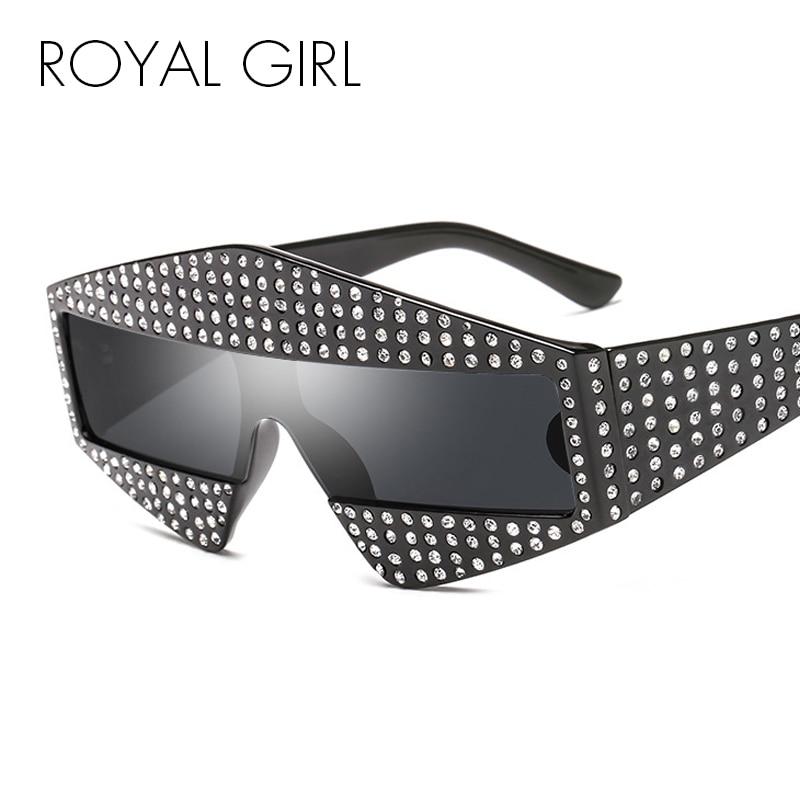 ROYAL FILLE Brillant Strass lunettes de Soleil pour Hommes Femmes De Luxe Conception 2018 Dames Vintage Plein de Diamants Cadre Shades Oculos ss028